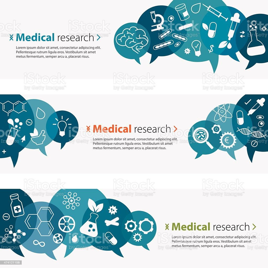 Medical Research Banners And Icon Set vector art illustration