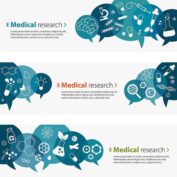medical research banners and icon set - bio tech stock illustrations, clip art, cartoons, & icons