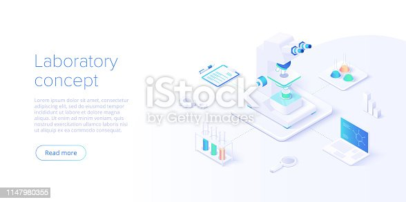 Medical research laboratory concept in isometric vector illustration. Pharmaceutical or chemical lab background with microscope and equipment. Web banner layout template.