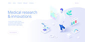 Medical research laboratory concept in isometric vector illustration. Pharmaceutical or chemical lab male assistant or pharmacist at desk with microscope. Web banner layout template.