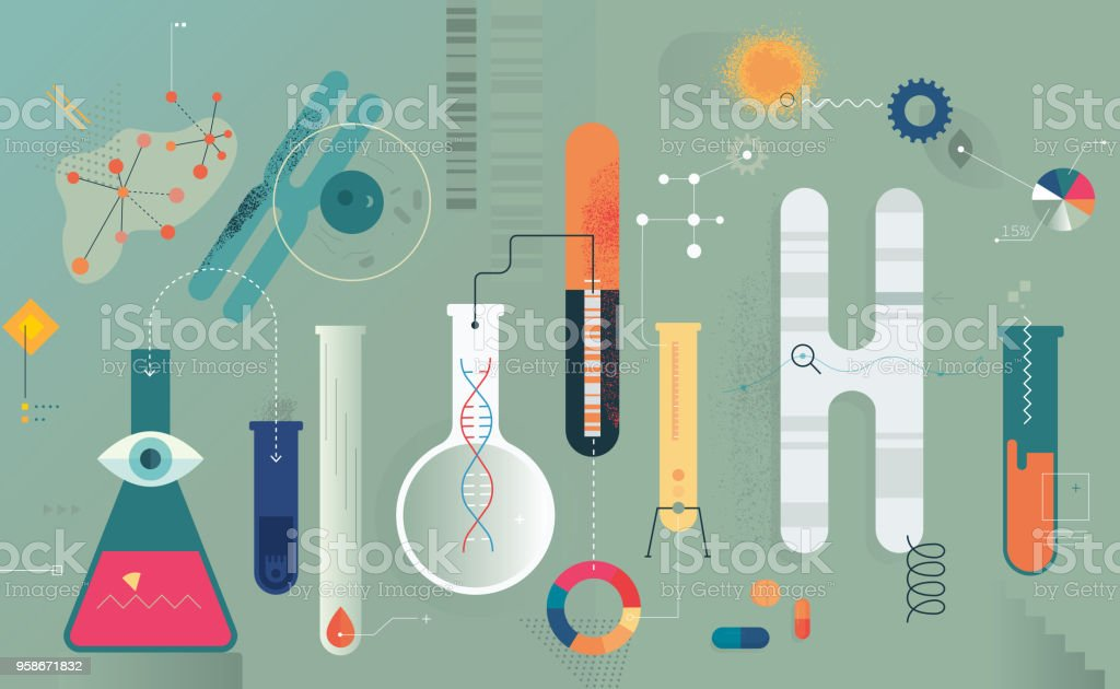 Medical Research vector art illustration