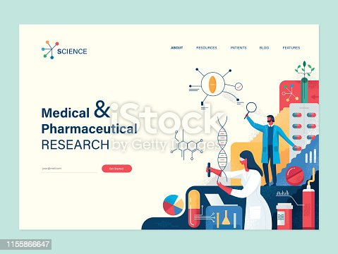 Flat trendy website template with copy space text and vector illustration with hand drawn textures depicting medical and pharmaceutical research concept.