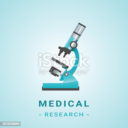 Medical Researh Illustration. Microscope And Flasks Isolated On A Background. Vector.