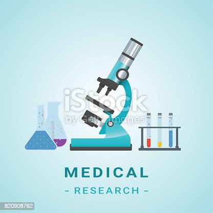 Medical Researh Illustration. Microscope Isolated On A Background. Vector.