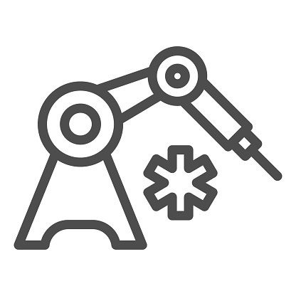 Medical robot and star of life line icon, Innovative medicine concept, Robotic surgical tool sign on white background, Medical inject robot icon in outline style for mobile. Vector graphics.