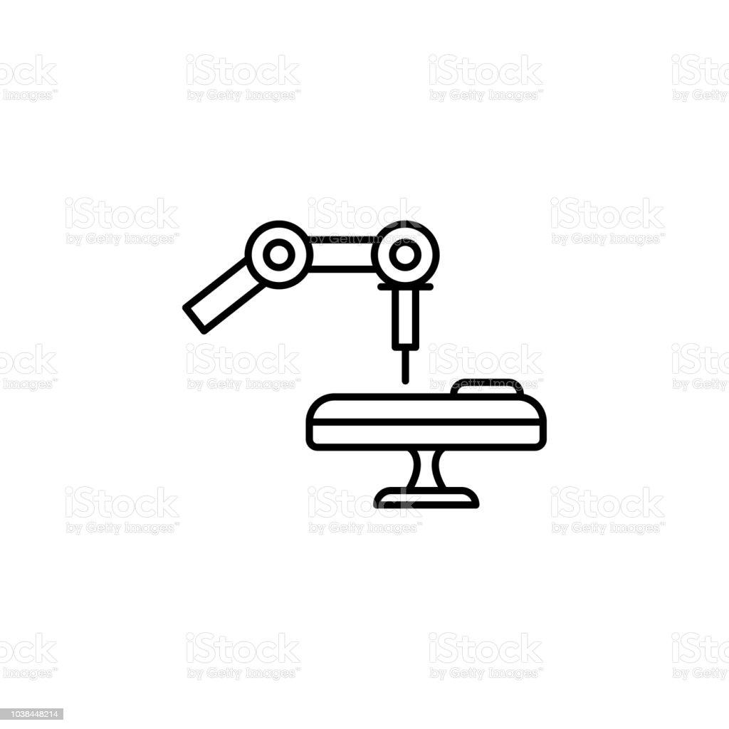 Medical robot operation concept line icon. Simple element illustration. Medical robot operation concept outline symbol design from artificial intelligence set vector art illustration