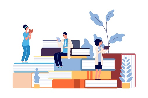 Medical school students. Doctors studying, hospital staff reading books. Refresher courses for nurse, healthcare professor college vector illustration