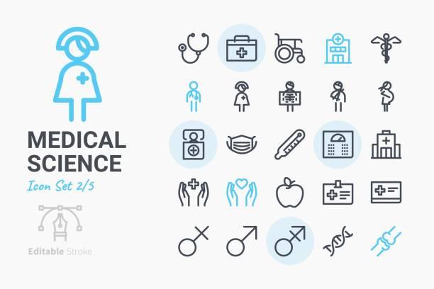ilustrações, clipart, desenhos animados e ícones de conjunto de ícones de ciência médica 2 - enfermeira