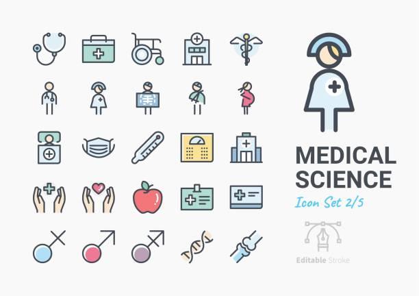 ilustrações, clipart, desenhos animados e ícones de conjunto de ícones de ciência médico - enfermeira