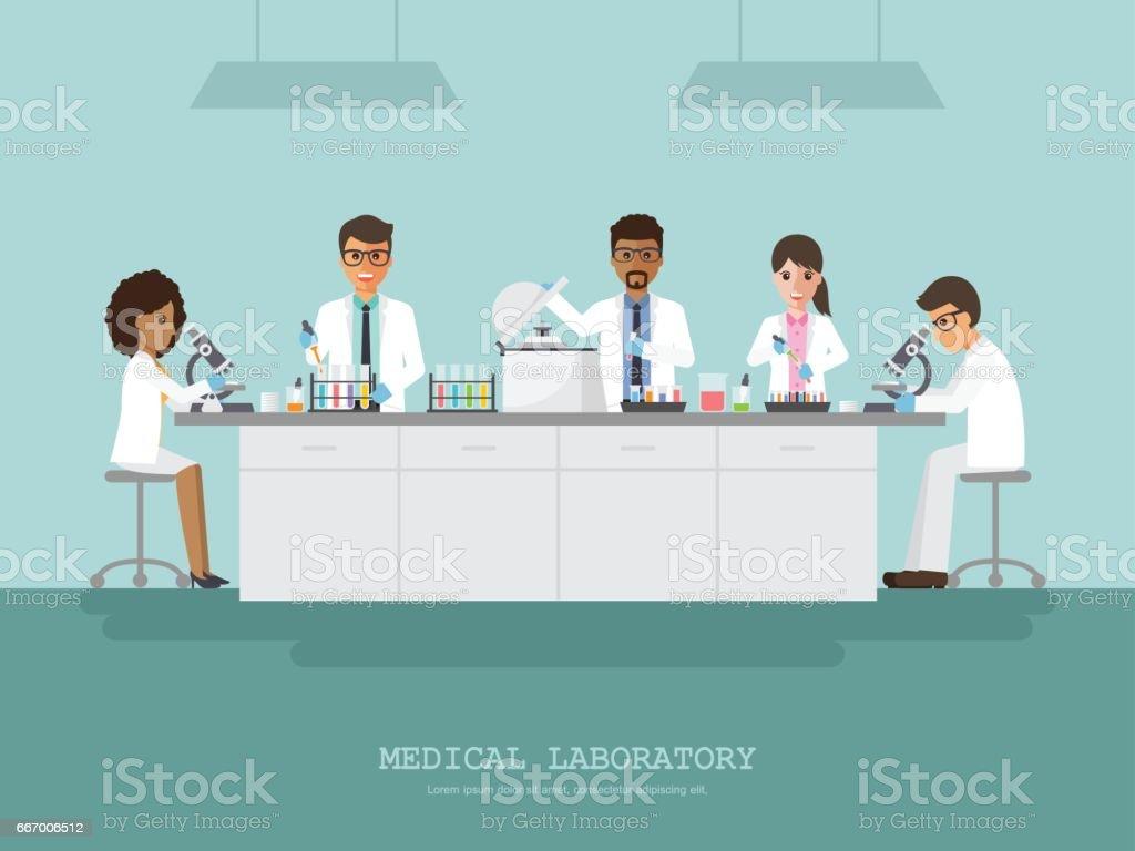 Laboratório de ciência médica - ilustração de arte em vetor