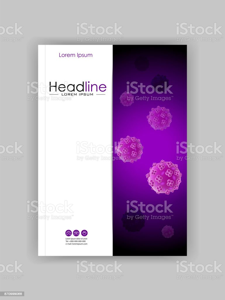a4 medical scientific academic journal cover design with bacteria virus luminescence royalty