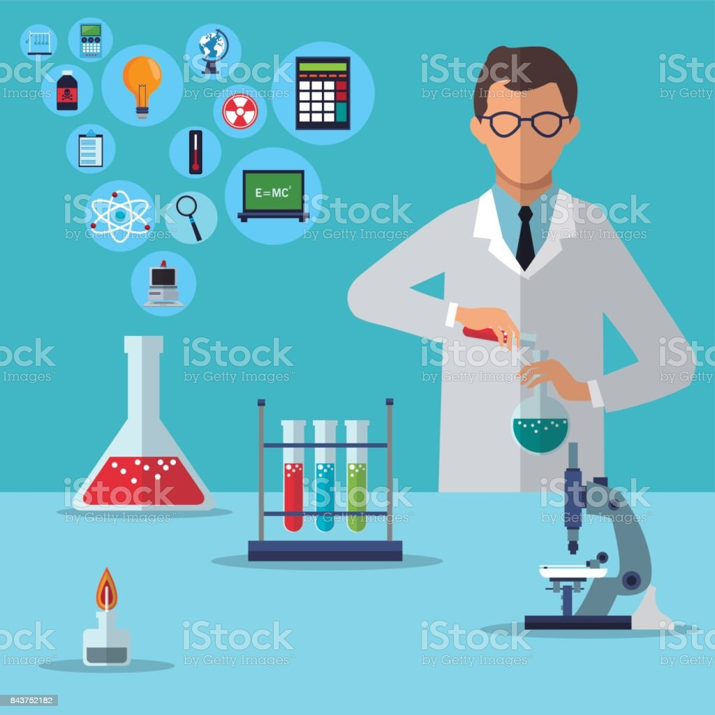 medical scientist research experiment laboratory vector art illustration