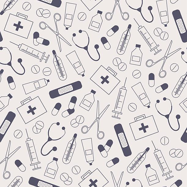 stockillustraties, clipart, cartoons en iconen met medical seamless background - naald chirurgisch instrument