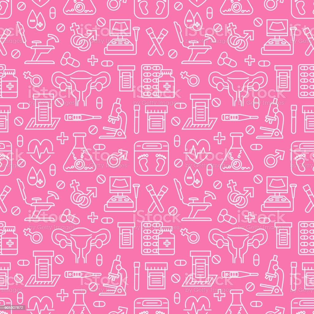 Medical seamless pattern, gynecology vector background pink color. Obstetrics, pregnancy line icons - ultrasound, gynecological chair, in vitro fertilization. Cute repeated illustration for hospital vector art illustration