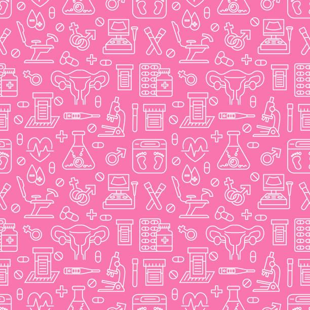 ilustraciones, imágenes clip art, dibujos animados e iconos de stock de médico de patrones sin fisuras, color de fondo rosado de vector de ginecología. obstetricia, iconos de la línea de embarazo - ultrasonido, silla ginecológica, fertilización in vitro. linda ilustración repetida para el hospital - planificación familiar