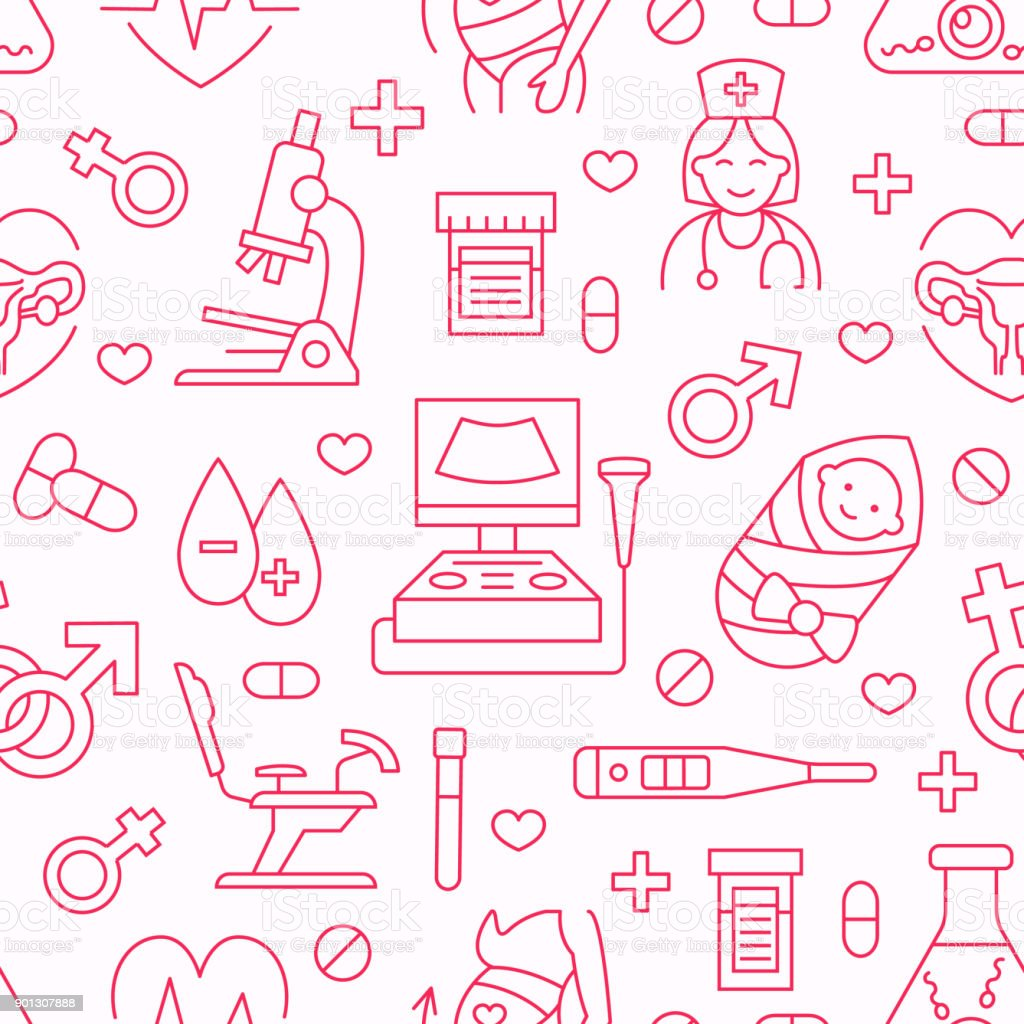 Medical seamless pattern, gynecology vector background pink color. Obstetrics, pregnancy line icons - baby ultrasound, gynecological chair, in vitro fertilization. Cute repeated illustration hospital vector art illustration