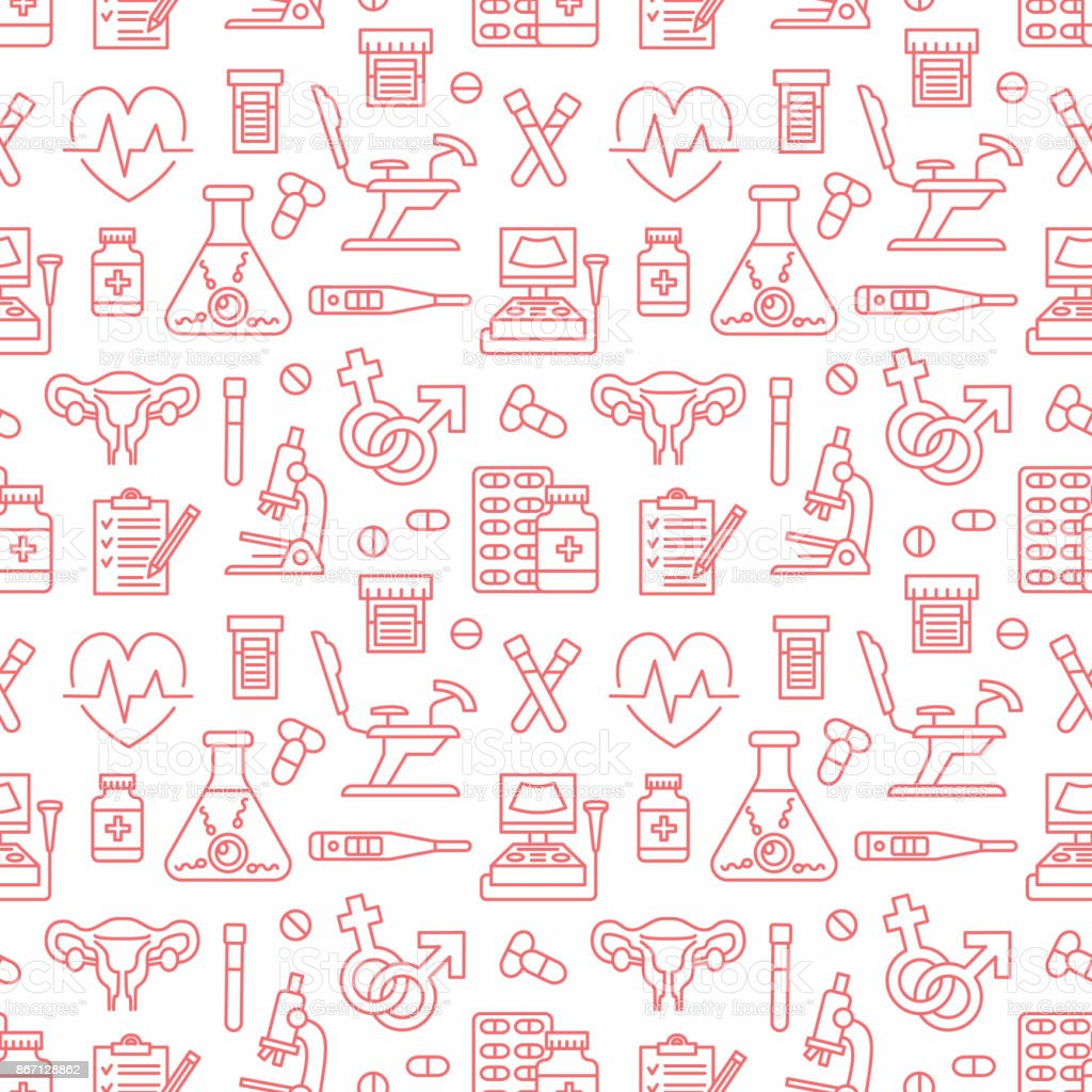 Medical Seamless Pattern Gynecology Vector Background Red