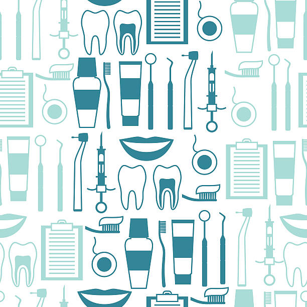 medical seamless pattern with dental equipment icons. - orthodontist stock illustrations, clip art, cartoons, & icons