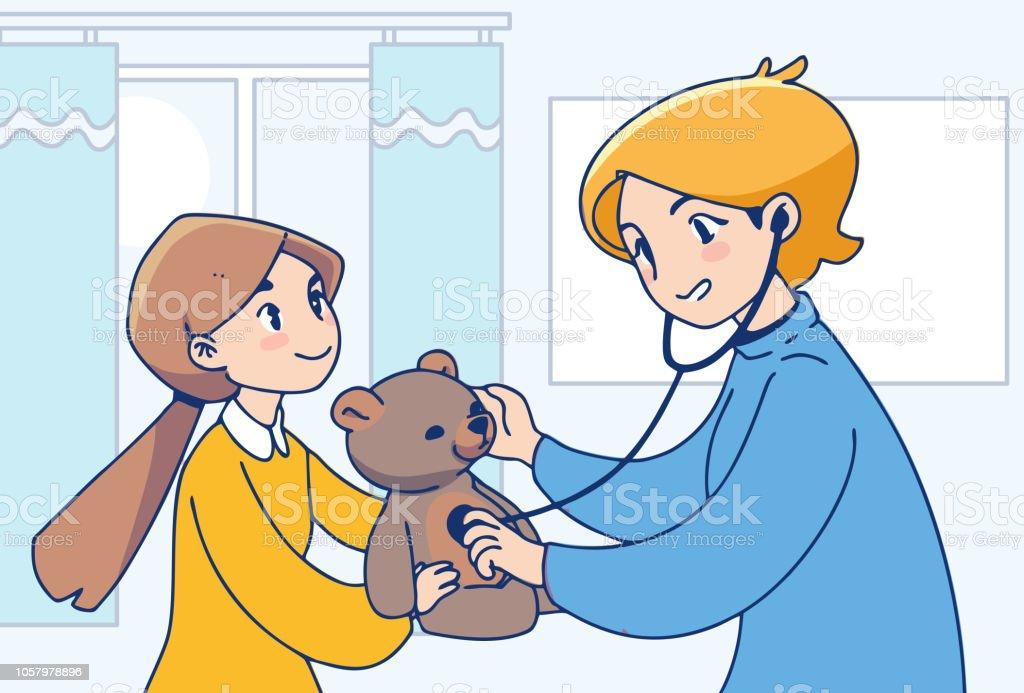 Sanitätsdienst Konzept Abbildung. Kleine Mädchen und Krankenschwester illustration – Vektorgrafik