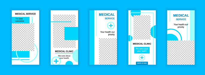 Medical service editable templates set for Instagram stories. Health care and treatment, modern clinic layouts. Design for social networks. Insta story mockup