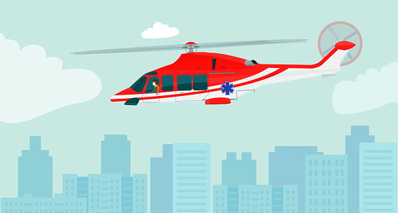 Medical service helicopter with a pilot in medical mask over the city. Side view. Vector flat style illustration.