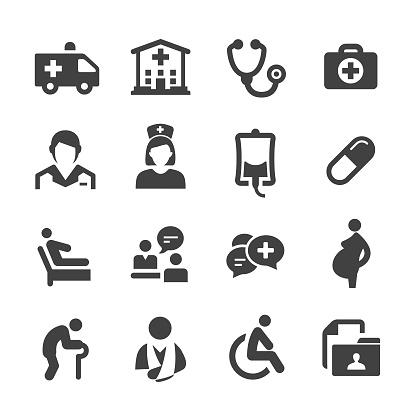 Medical Service Icons Acme Series - Immagini vettoriali stock e altre immagini di Ambulanza