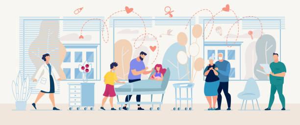 bildbanksillustrationer, clip art samt tecknat material och ikoner med medicinsk service med läkare och patient i kliniken - sjukhusavdelning