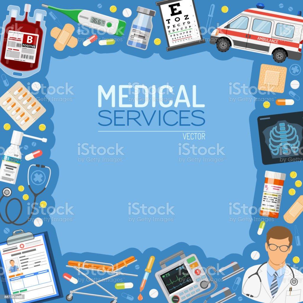 Medical Services Banner and Frame vector art illustration