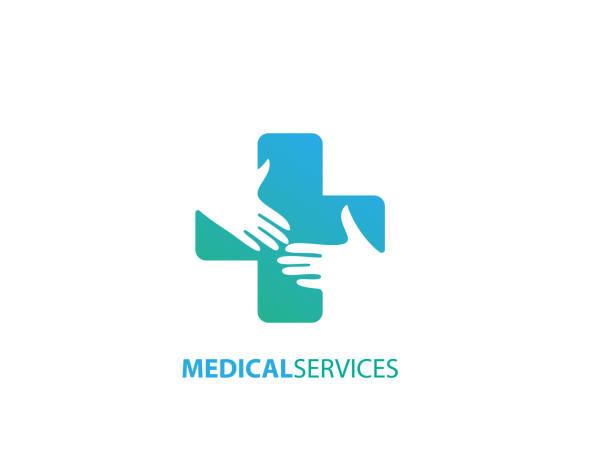 illustrazioni stock, clip art, cartoni animati e icone di tendenza di medical services desogn - illustration - croce farmacia