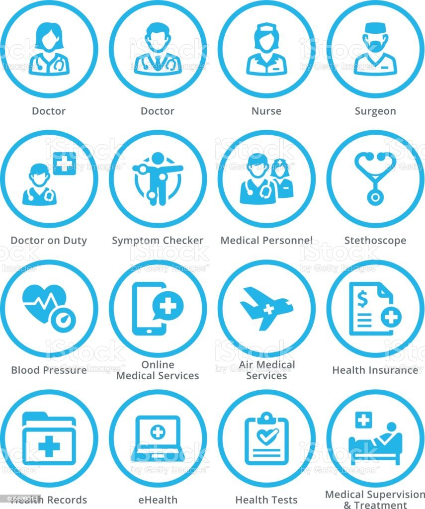 Medical Services Icons Set 2 - Blue Circles vector art illustration