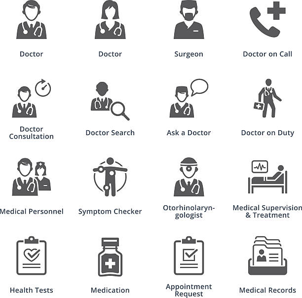 medical services icons set 3 - black series - bed stock illustrations