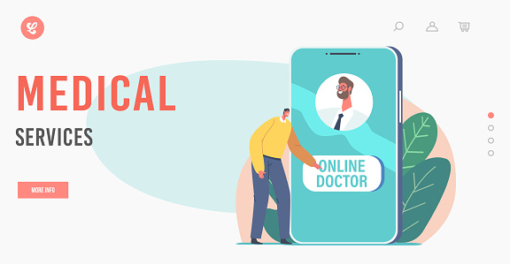 Medical Services Landing Page Template. Online Medicine Concept. Tiny Character Push Button to Call Doctor via Internet