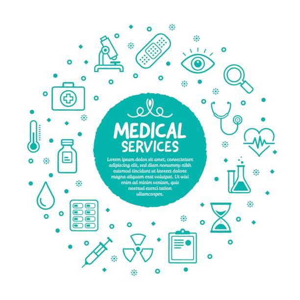 医療サービスのポスター - 健康のインフォグラフィック点のイラスト素材/クリップアート素材/マンガ素材/アイコン素材
