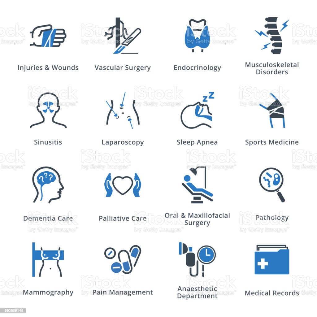 Medical Services & Specialties Icons Set 5 - Blue Series vector art illustration
