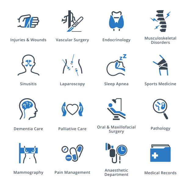 ilustraciones, imágenes clip art, dibujos animados e iconos de stock de servicios médicos y especialidades iconos conjunto 5 - serie azul - medicina del deporte