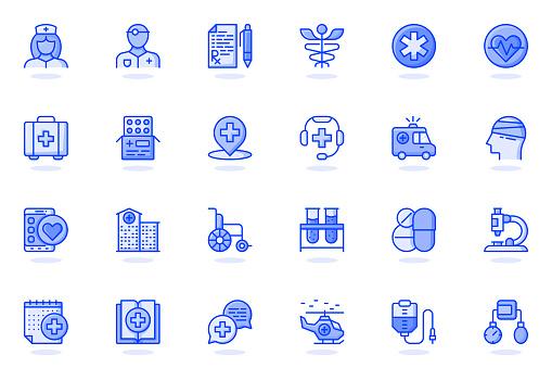 Medical services web flat line icon. Bundle outline pictogram of doctor, nurse, prescription, pharmacy, medicine, ambulance, treatment concept. Vector illustration of icons pack for website design