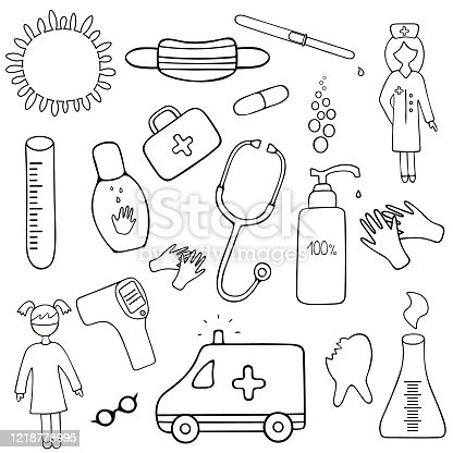 Medical set. Collection of healthcare elements for web design. Vector illustration. Coloring book for children. Contour on an isolated background. Health topics. Doodle style. Sketch.