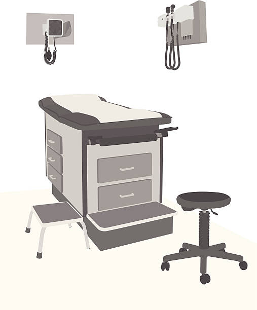 medical setup vector silhouette - doctors office stock illustrations, clip art, cartoons, & icons