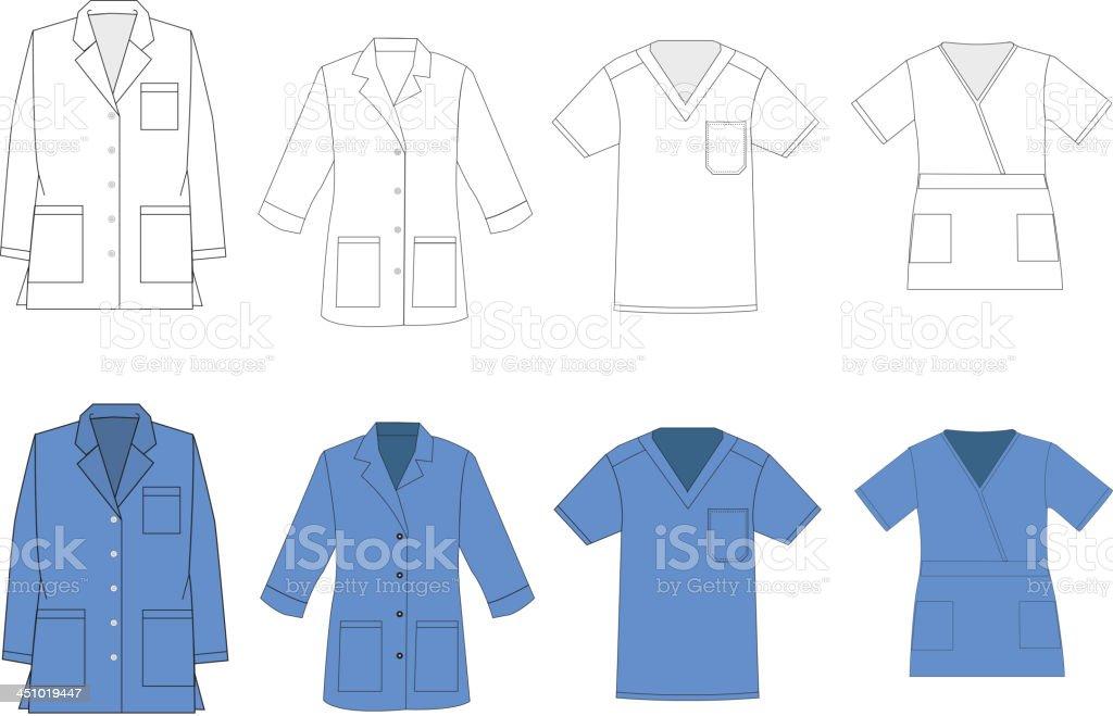 Medical vector plantillas de camisa uniforme - ilustración de arte vectorial