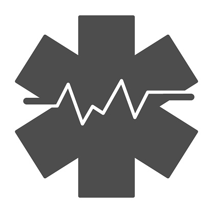 Medical sign and heart rate solid icon, medicine concept, star life with heart pulse sign on white background, Medical symbol of emergency icon in glyph style. Vector graphics.