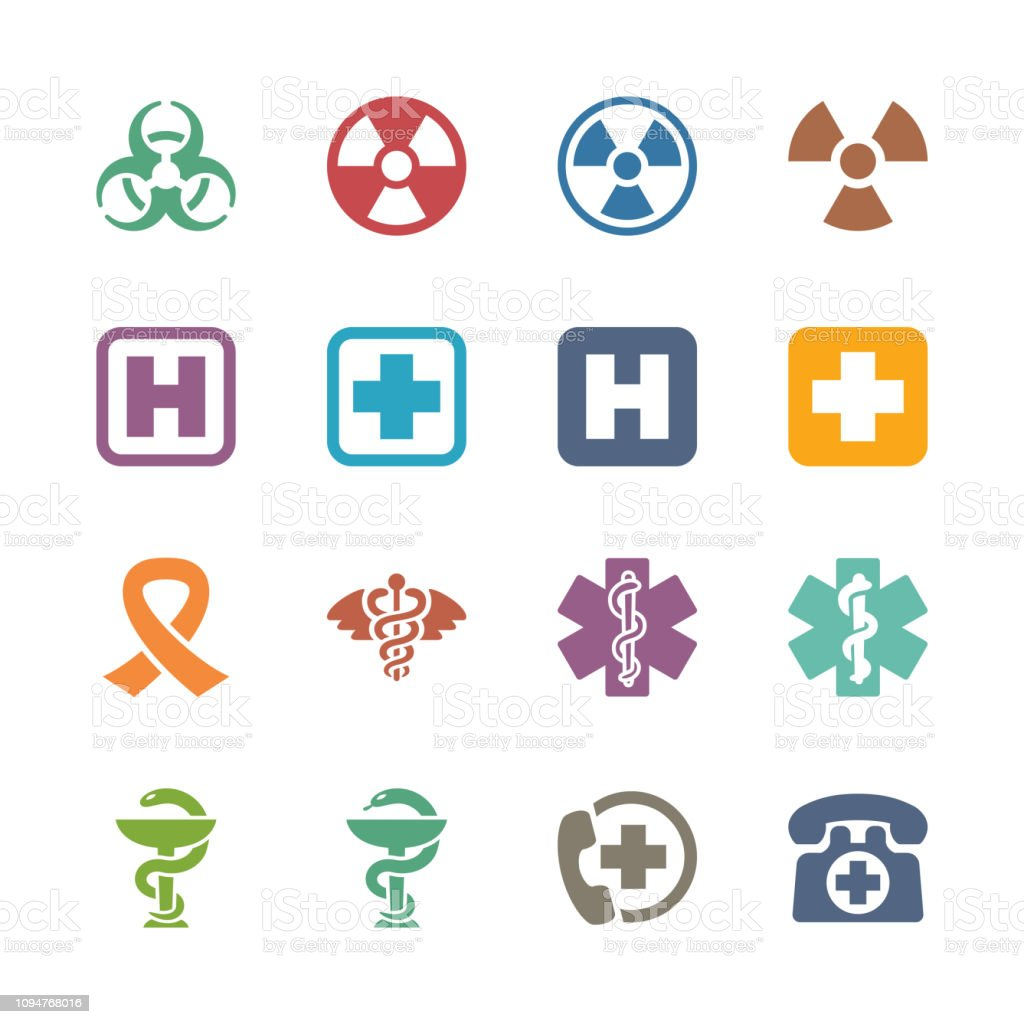 Medical Signs & Symbols Icons - Colored Series Set