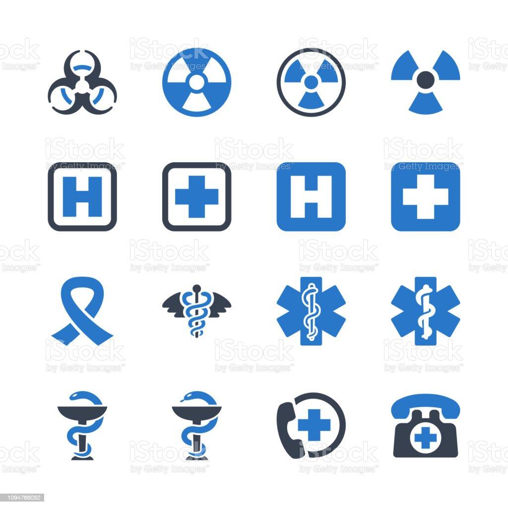 Medical Signs & Symbols Icons - Blue Series Set