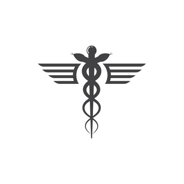illustrazioni stock, clip art, cartoni animati e icone di tendenza di medical snake vector icon illustration - ancient medical symbol