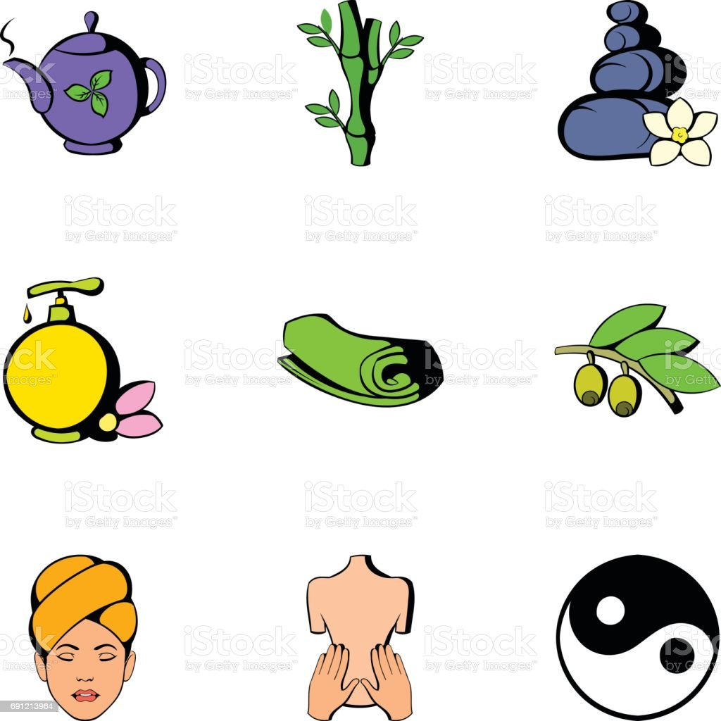 Medical spa icons set, cartoon style vector art illustration