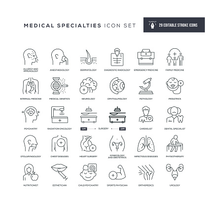 Medical Specialties and Organs Editable Stroke Icons
