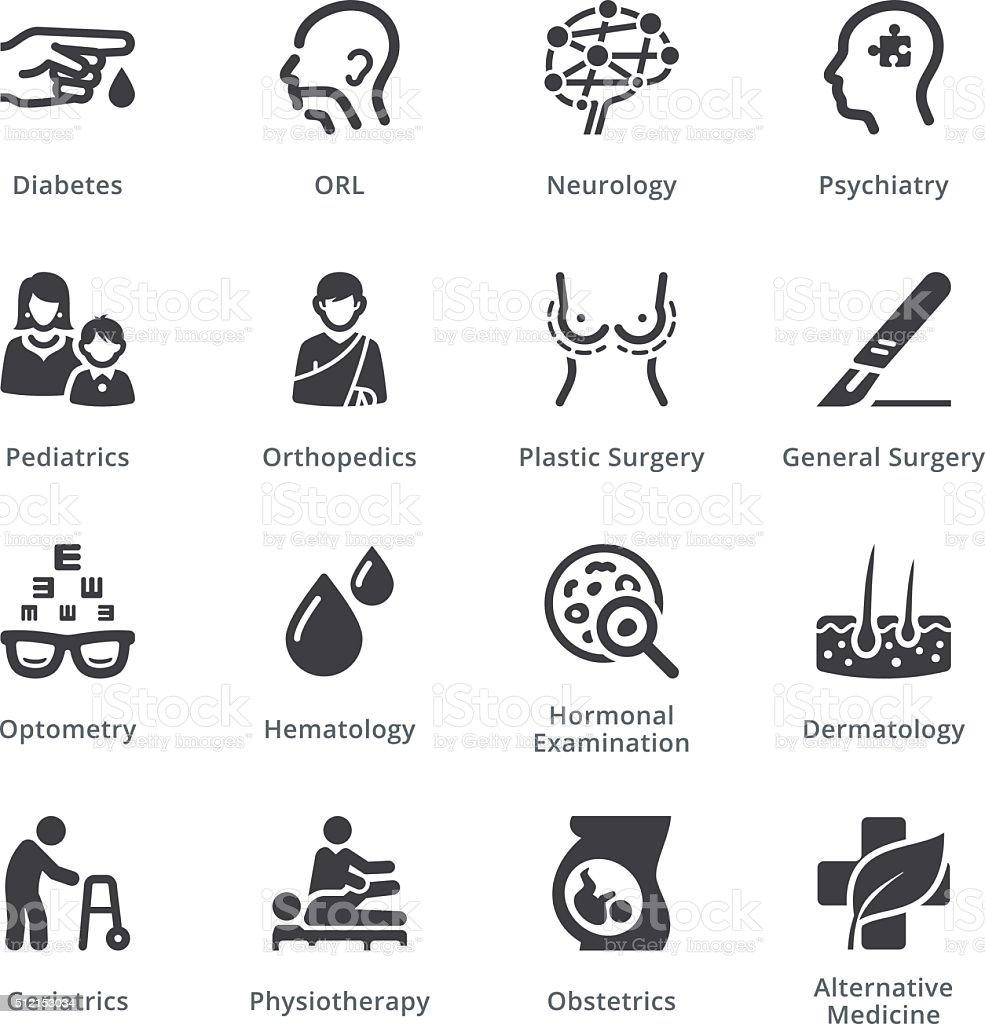 Conjunto de iconos médica especialidades 2 Sympa serie/negro - ilustración de arte vectorial