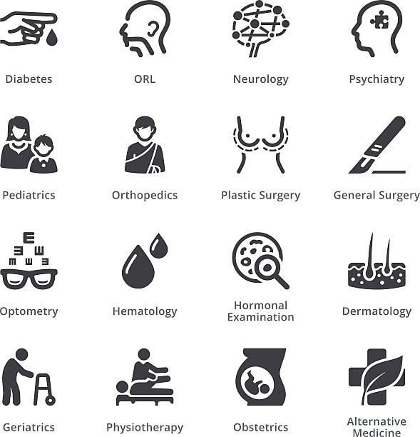 ilustraciones, imágenes clip art, dibujos animados e iconos de stock de conjunto de iconos médica especialidades 2 sympa serie/negro - geriatría