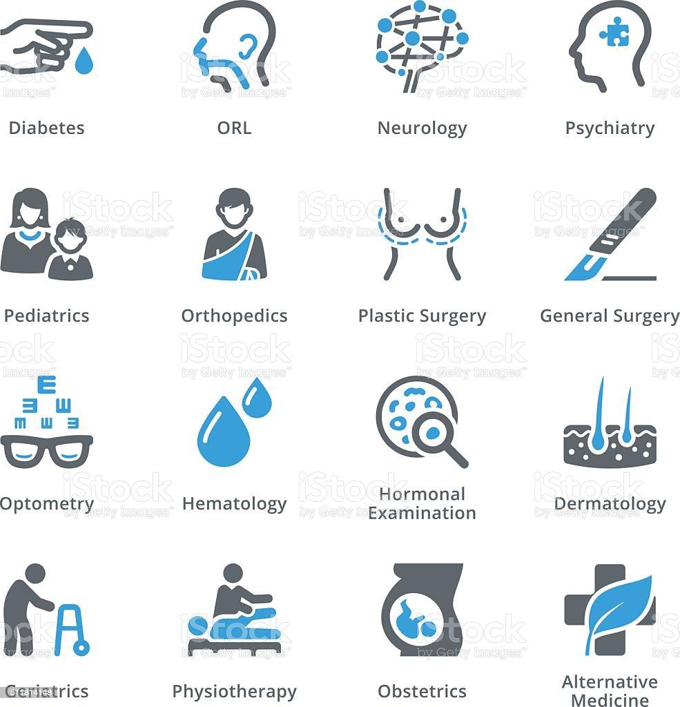 Especialidades médica iconos Conjunto 2-Serie Sympa - ilustración de arte vectorial