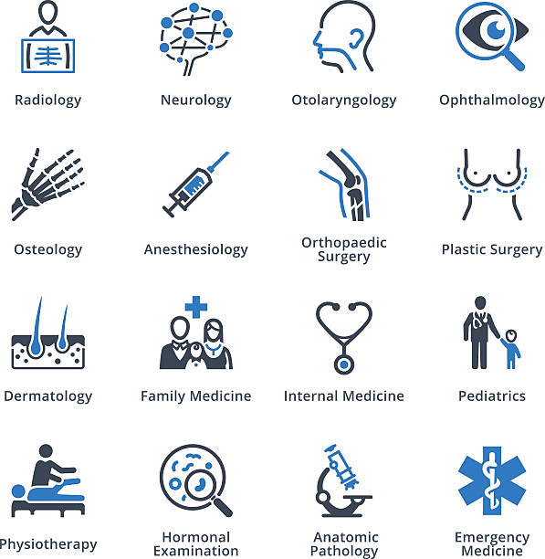 Medical Specialties Icons Set 3 - Blue Series This set contains medical specialties icons that can be used for designing and developing websites, as well as printed materials and presentations. radiology stock illustrations