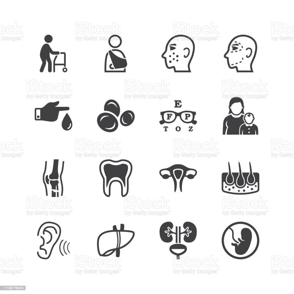 Iconos de especialidades médicas - ilustración de arte vectorial